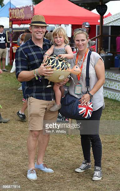 Mike Tindall Zara Tindell and their daughter Mia Tindall pose for a photograph during day three of The Big Feastival at Alex James' Farm on August 28...