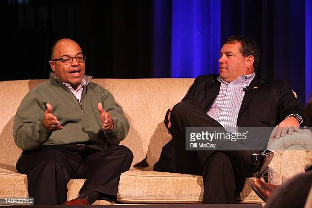 Mike Tirico and Brady Hoke attend the filming of Stars of Maxwell Football Club Discussion Table at Harrah's Resort March 2 2012 in Atlantic City New...
