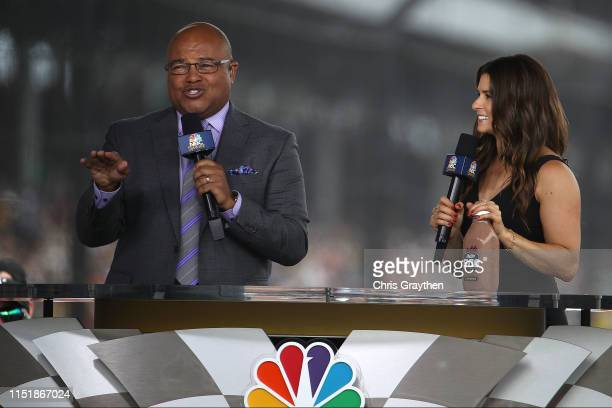 Mike Tirico and Danica Patrick broadcast for NBC prior to the 103rd running of the Indianapolis 500 at Indianapolis Motor Speedway on May 26, 2019 in...