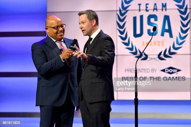 Mike Tirico and Ryan Odom attend the Team USA Awards at the Duke Ellington School of the Arts on April 26, 2018 in Washington, DC.