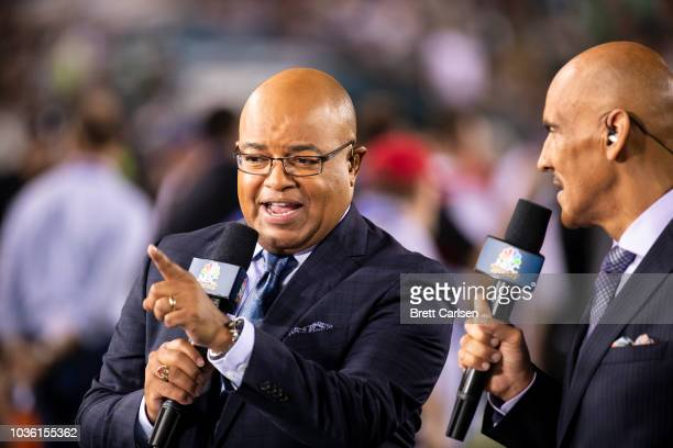 Mike Tirico participates in NBC Sports broadcast before the game between the Philadelphia Eagles and the Atlanta Falcons at Lincoln Financial Field...