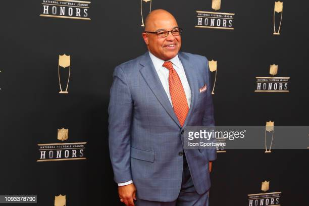 Mike Tirico poses for photos on the red carpet at the NFL Honors on February 2, 2019 at the Fox Theatre in Atlanta, GA.