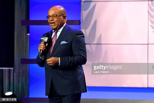 Mike Tirico speaks onstage during the Team USA Awards at the Duke Ellington School of the Arts on April 26, 2018 in Washington, DC.
