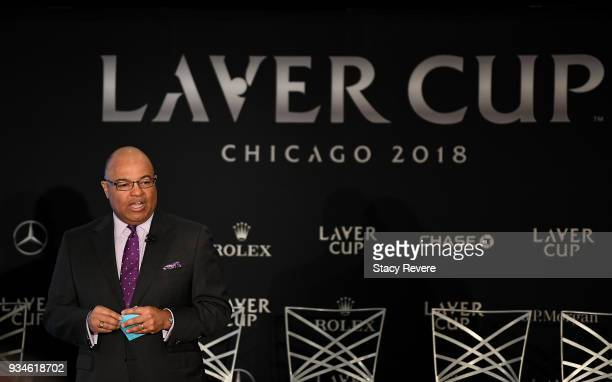 Mike Tirico speaks to media at the Chicago Athletic Association during the Laver Cup 2018 Chicago Launch on March 19 2018 in Chicago Illinois