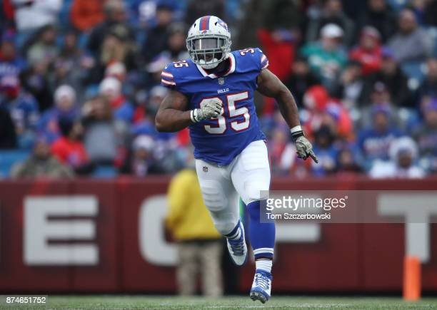 Mike Tolbert of the Buffalo Bills in action during NFL game action against the New Orleans Saints at New Era Field on November 12 2017 in Buffalo New...