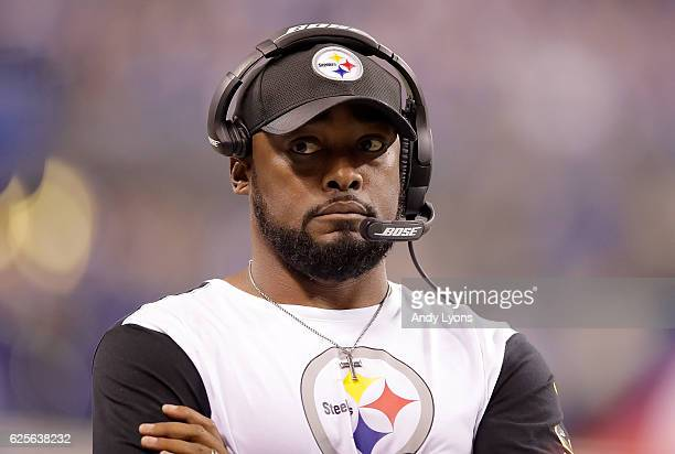 Mike Tomlin head coach of the Pittsburgh Steelers stands on the sidelines during the second quarter of the game against the Indianapolis Colts at...