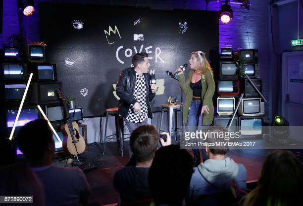 Mike Tompkins and Andie Case winners of Cover of The Year Award perform on stage during the MTV EMAs 2017 Breaks Sessions on November 11 2017 in...