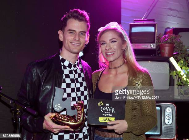 Mike Tompkins and Andie Case with their Cover of The Year Award during the MTV EMAs 2017 Breaks Sessions on November 11 2017 in London England