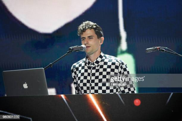 Mike Tompkins appears at YouTube OnStage during VidCon at the Anaheim Convention Center Arena on June 21 2018 in Anaheim California