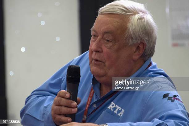 Mike Trimby of Great Britain and Irta speaks during the press conference of Race Direction during the MotoGp of Catalunya Previews at Circuit de...