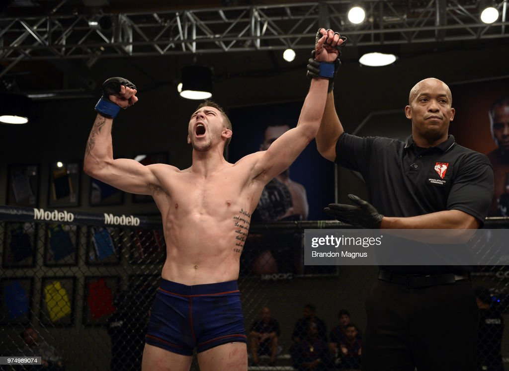Mike Triziano celebrates after defeating John Gunther in their semi final fight during the filming of The Ultimate Fighter: Undefeated on February 27, 2017 in Las Vegas, Nevada.