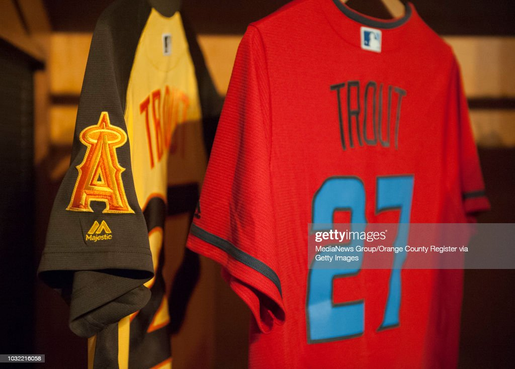 fad2cf7e923 Mike Trout All-Star jerseys hang in a locker during the 2016 MLB ...