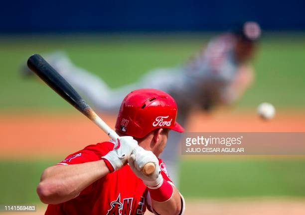 Mike Trout of Los Angeles Angels bats during the fourth inning of the MLB game against Houston Astros at Monterrey Stadium in Monterrey Nuevo Leon on...