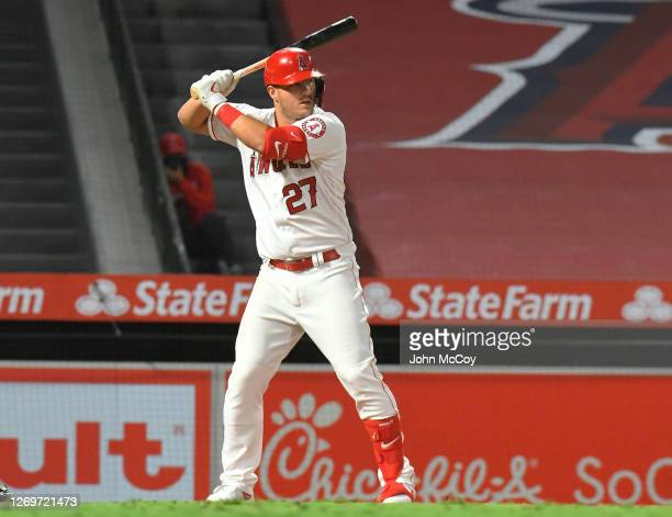 Mike Trout of the Los Angeles Angels at bat against the Seattle Mariners in the eighth inning at Angel Stadium of Anaheim on August 29, 2020 in...