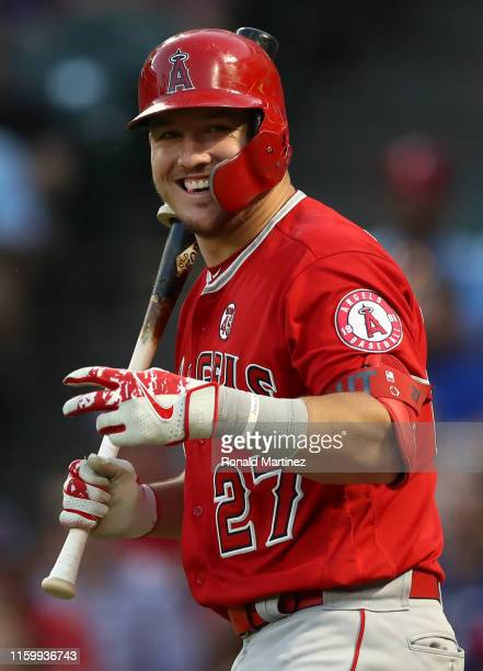 Mike Trout of the Los Angeles Angels at Globe Life Park in Arlington on July 03, 2019 in Arlington, Texas.