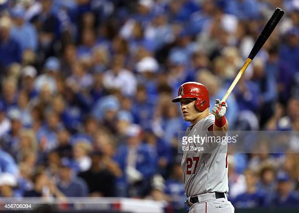 Mike Trout of the Los Angeles Angels bats against the Kansas City Royals during Game Three of the American League Division Series at Kauffman Stadium...