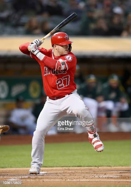 Mike Trout of the Los Angeles Angels bats against the Oakland Athletics at Oakland Alameda Coliseum on September 18 2018 in Oakland California