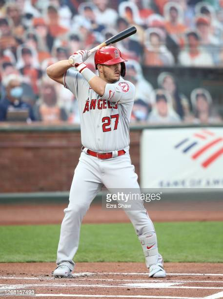 Mike Trout of the Los Angeles Angels bats against the San Francisco Giants at Oracle Park on August 19, 2020 in San Francisco, California.