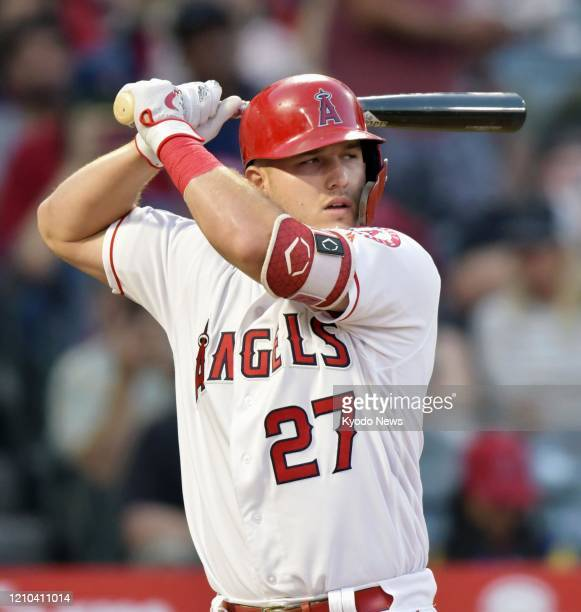Mike Trout of the Los Angeles Angels bats during a game against the Toronto Blue Jays on June 21 in Anaheim California the 1000th game of his career