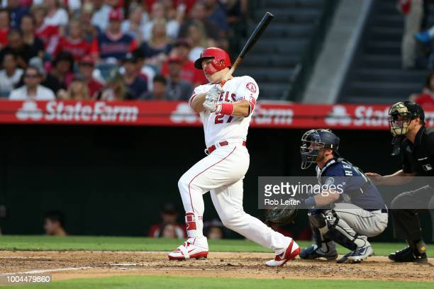 Mike Trout of the Los Angeles Angels bats during the game against the Seattle Mariners at Angel Stadium on July 10 2018 in Anaheim California The...
