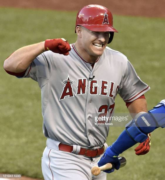 Mike Trout of the Los Angeles Angels celebrates after leading off the AllStar Game with a home run on July 14 in Cincinnati Ohio