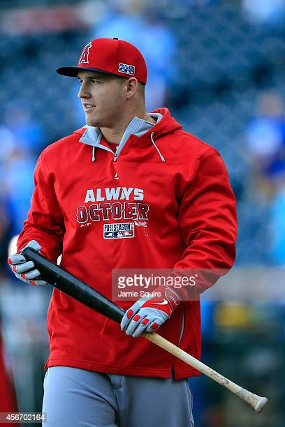 Mike Trout of the Los Angeles Angels during batting practice before Game Three of the American League Division Series against the Kansas City Royals...