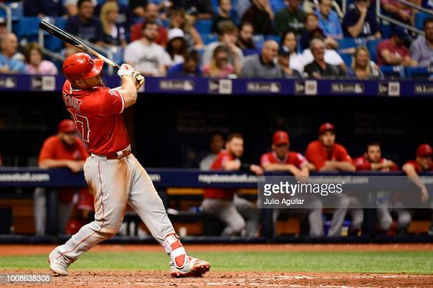 Mike Trout of the Los Angeles Angels hits a homer in the seventh inning against the Tampa Bay Rays on July 31 2018 at Tropicana Field in St...