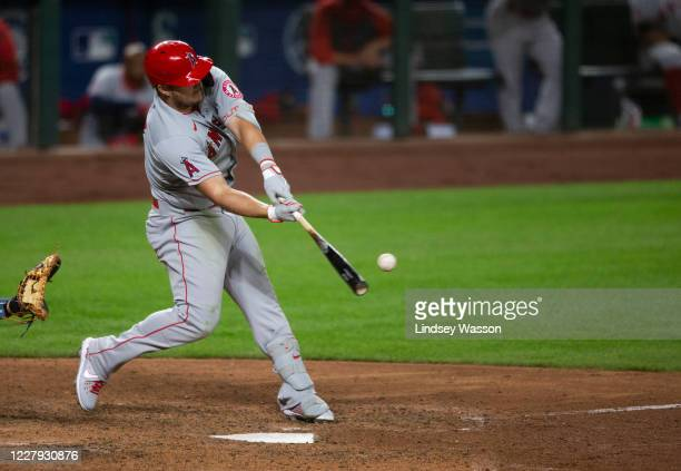 Mike Trout of the Los Angeles Angels hits a three-run home run during the eighth inning against the Seattle Mariners at T-Mobile Park on August 5,...