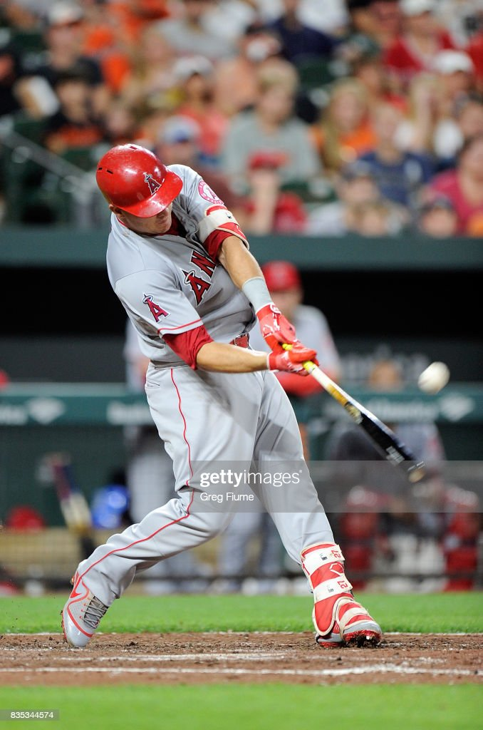 Mike Trout #27 of the Los Angeles Angels hits a two-run home run in the fifth inning against the Baltimore Orioles at Oriole Park at Camden Yards on August 18, 2017 in Baltimore, Maryland.