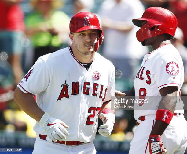 Mike Trout of the Los Angeles Angels is pictured after hitting a home run during a game against the Detroit Tigers on July 31 in Anaheim California