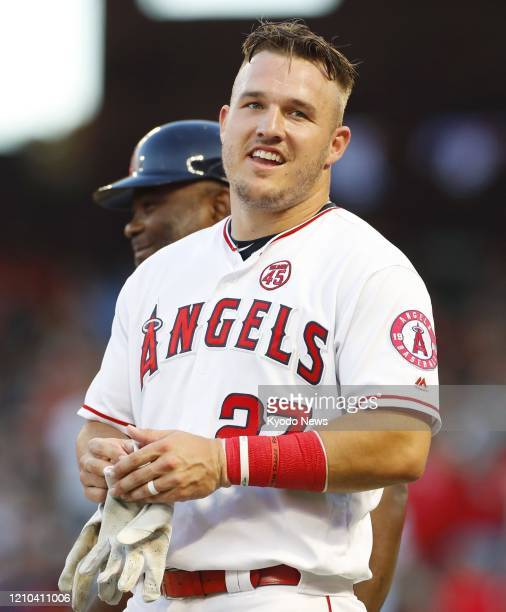 Mike Trout of the Los Angeles Angels is pictured during a game against the Boston Red Sox on Aug 31 in Anaheim California
