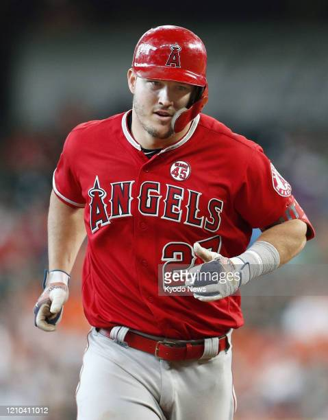 Mike Trout of the Los Angeles Angels is pictured during a game against the Houston Astros on July 7 in Houston Texas