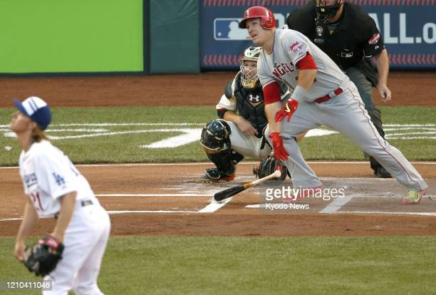 Mike Trout of the Los Angeles Angels leads off the AllStar Game with a home run on July 14 in Cincinnati Ohio