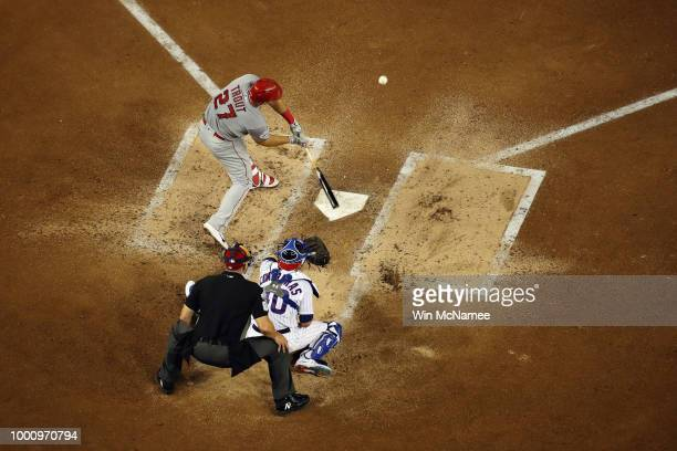 Mike Trout of the Los Angeles Angels of Anaheim and the American League hits a solo home run in the third inning against the National League during...