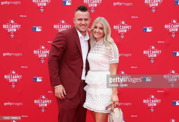 Mike Trout of the Los Angeles Angels of Anaheim and the American League and wife Jessica Tara Trout attend the 89th MLB AllStar Game presented by...