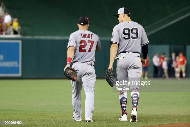 Mike Trout of the Los Angeles Angels of Anaheim and the American League and Aaron Judge of the New York Yankees and the American League take the...