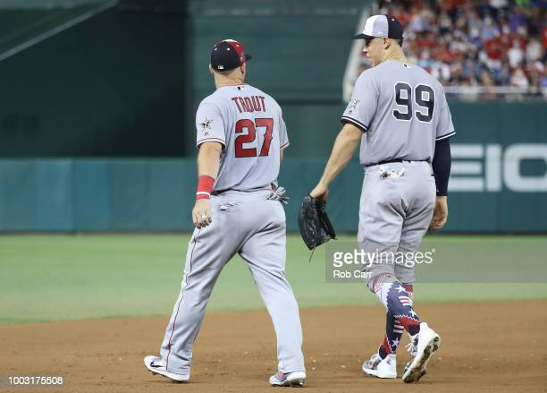 Mike Trout of the Los Angeles Angels of Anaheim and the American League and Aaron Judge of the New York Yankees and the American League during the...