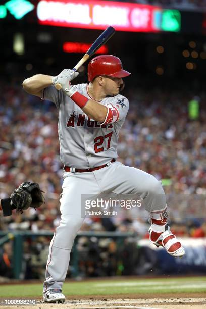 Mike Trout of the Los Angeles Angels of Anaheim and the American League bats in the first inning against the National League during the 89th MLB...