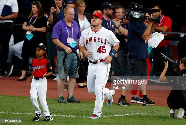 Mike Trout of the Los Angeles Angels of Anaheim and the American League is introduced during the 2019 MLB All-Star Game, presented by Mastercard at...