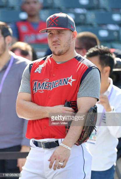 Mike Trout of the Los Angeles Angels of Anaheim and the American League looks on during batting practice prior to the 2019 MLB AllStar Game presented...
