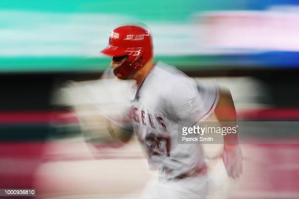 Mike Trout of the Los Angeles Angels of Anaheim and the American League runs the bases in the first inning against the National League during the...