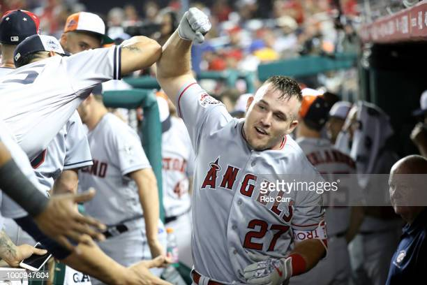 Mike Trout of the Los Angeles Angels of Anaheim and the American League celebrates after hitting a solo home run in the third inning against the...