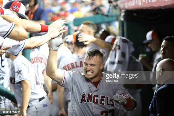Mike Trout of the Los Angeles Angels of Anaheim and the American League during the 89th MLB AllStar Game presented by Mastercard at Nationals Park on...