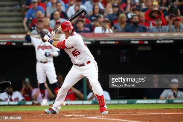 Mike Trout of the Los Angeles Angels of Anaheim and the American League bats during the 2019 MLB All-Star Game, presented by Mastercard at...