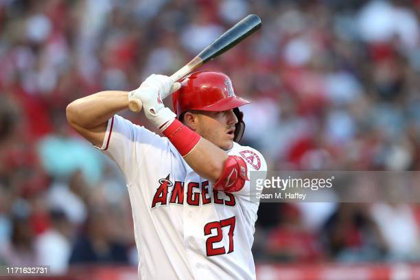 Mike Trout of the Los Angeles Angels of Anaheim at bat during a game against the Boston Red Sox at Angel Stadium of Anaheim on August 31, 2019 in...