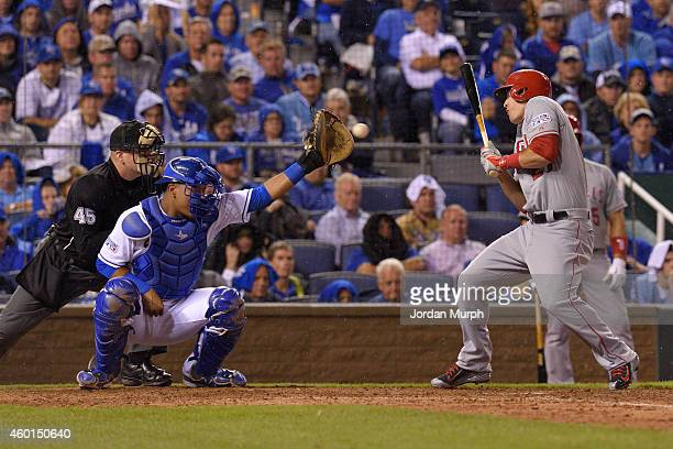 Mike Trout of the Los Angeles Angels of Anaheim avoids a close pitch while at bat during game 3 of the American League Division Series against the...