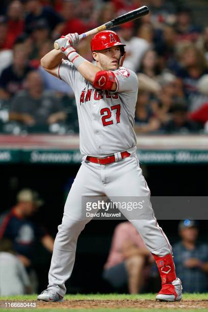 Mike Trout of the Los Angeles Angels of Anaheim bats against the Cleveland Indians in the eighth inning at Progressive Field on August 2, 2019 in...