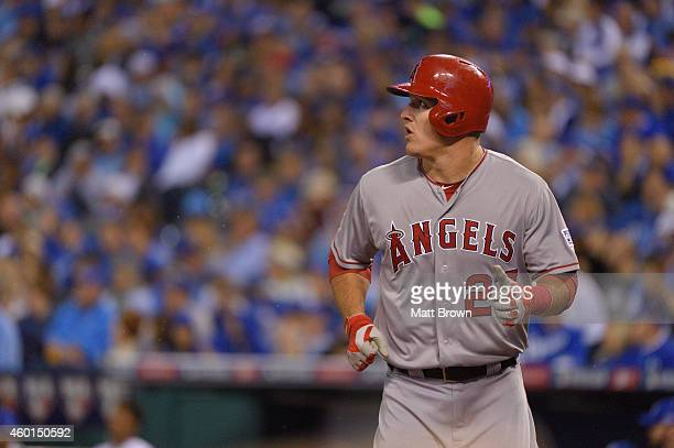 Mike Trout of the Los Angeles Angels of Anaheim during game 3 of the American League Division Series against the Kansas City Royals on October 5 2014...