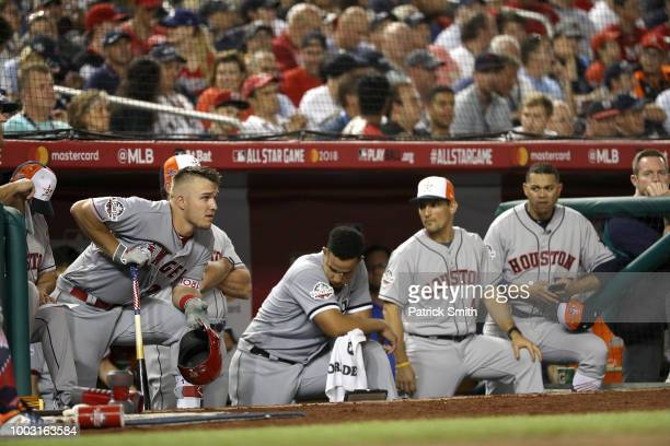 Mike Trout of the Los Angeles Angels of Anaheim during the 89th MLB AllStar Game presented by Mastercard at Nationals Park on July 17 2018 in...