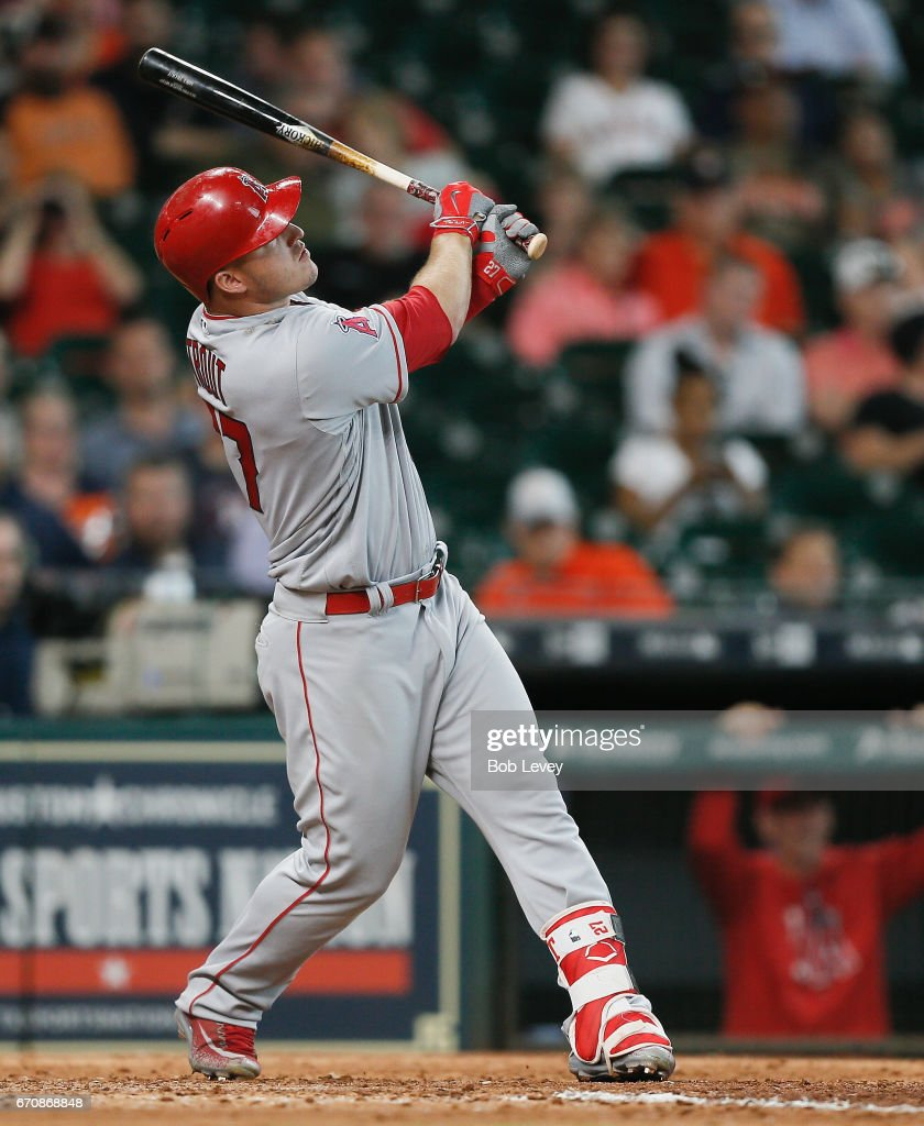Mike Trout #27 of the Los Angeles Angels of Anaheim hits a home run in the ninth inning against the Houston Astros at Minute Maid Park on April 20, 2017 in Houston, Texas.